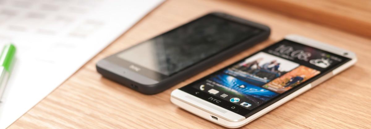 mobiles on desk